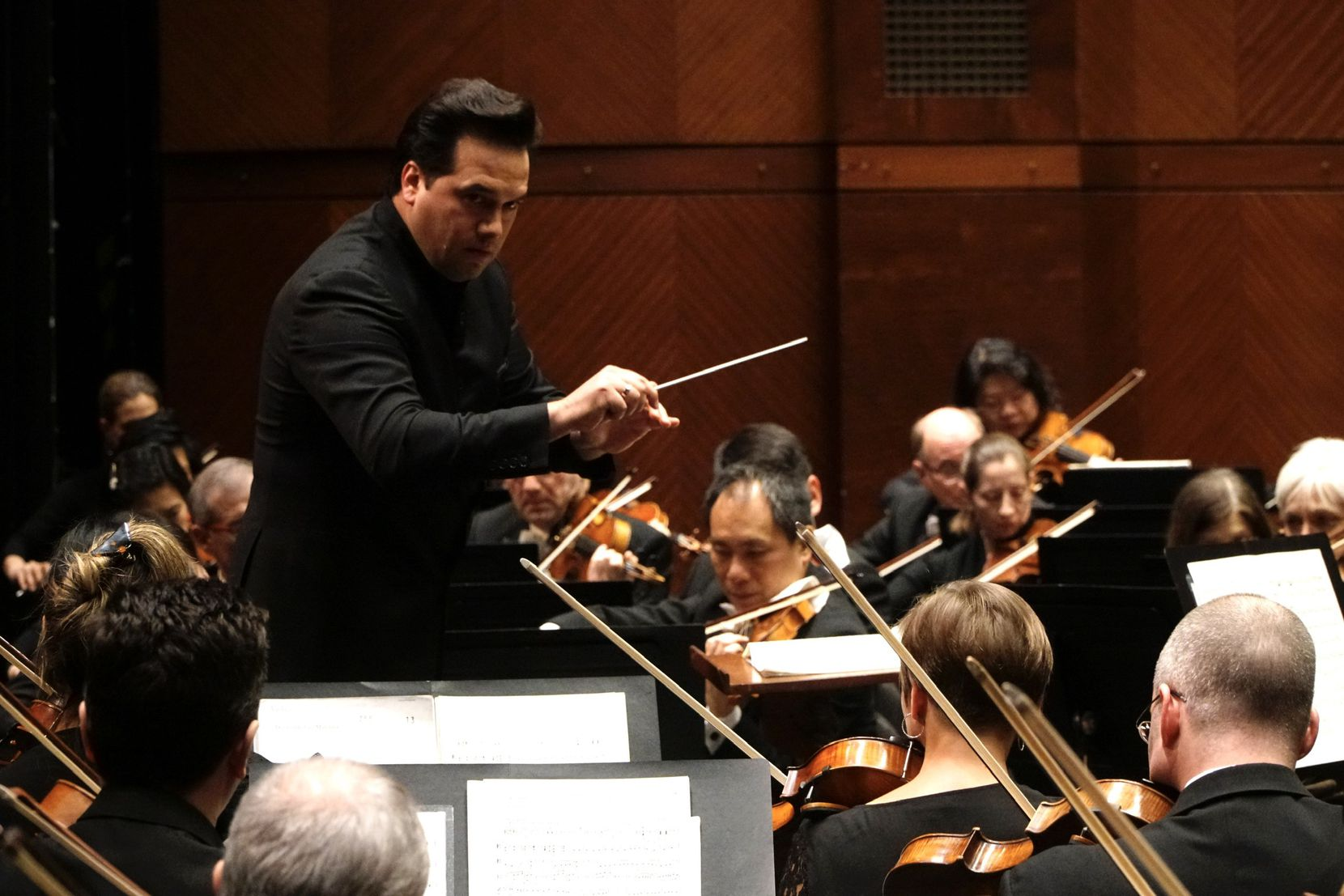 Guest Conductor Robert Trevino gives direction to the Fort Worth Symphony Orchestra at Bass Performance Hall in Fort Worth, TX on Friday, February 28, 2020.