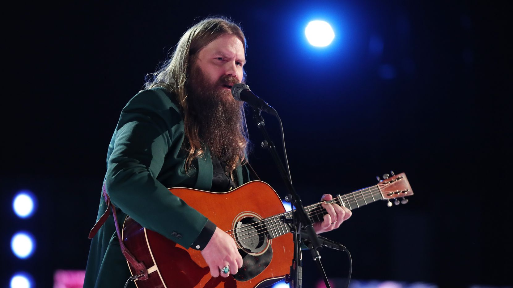 Recording artist Chris Stapleton performs onstage during the 60th Annual GRAMMY Awards at Madison Square Garden on Jan. 28, 2018 in New York City. Stapleton was scheduled to perform at Globe Life Field in Arlington in March, but the show was postponed to November.
