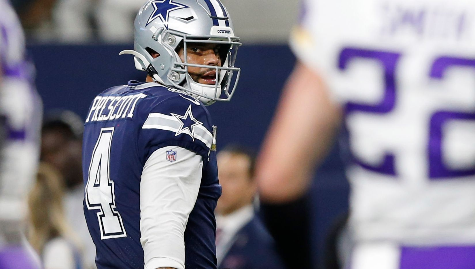 Dallas Cowboys quarterback Dak Prescott (4) and Minnesota Vikings outside linebacker Anthony Barr (55) share words after the Cowboys were stopped on third down during the second half of play at AT&T Stadium in Arlington, Texas on Sunday, November 10, 2019. The Minnesota Vikings defeated the Dallas Cowboys 28-24.