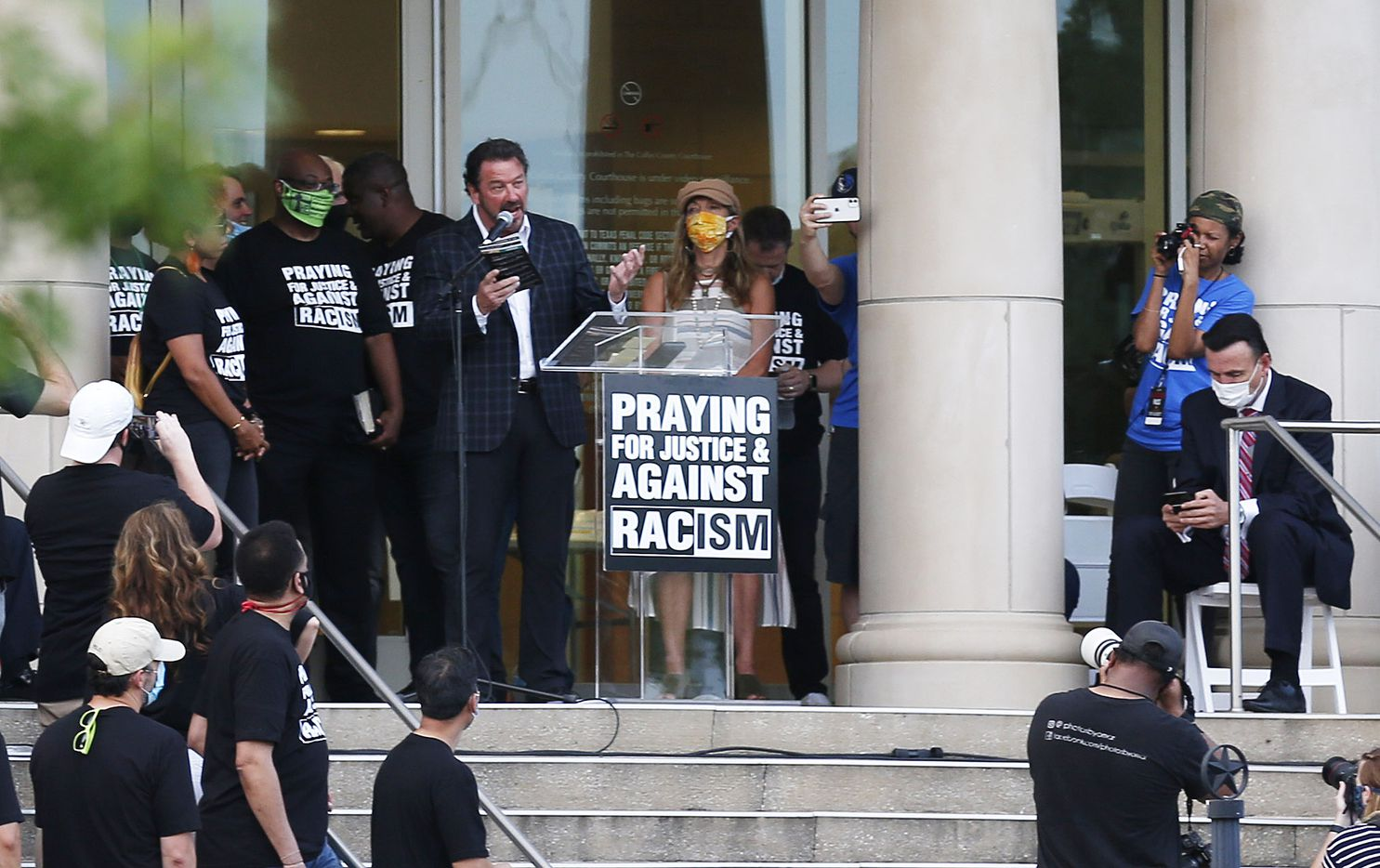 "McKinney mayor George Fuller addresses the crowd during ""A Gathering of Our Collin County Churches,"" at the Collin County Courthouse in McKinney, Texas on Thursday, June 4, 2020. Churches in Collin county joined to spread a message of unity and love for justice and thoughts on racism."
