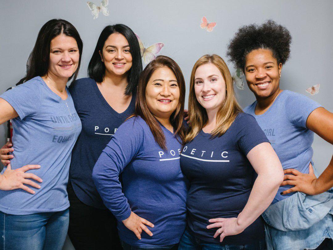 (Left to right) Chelsea Robertson, teacher; Karen Tejedor, bilingual therapist; Nina Kang, program manager; Amber Wersonske, therapist; and Sharita Stewart, case manager.