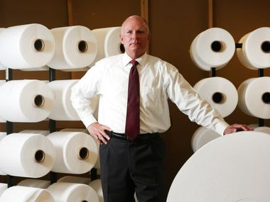 Mike Bowen, executive vice president of Prestige Ameritech, poses for a photograph at the manufacturing plant in North Richland Hills, Texas on Tuesday, August 2, 2017. The company is the largest domestic manufacturer of surgical masks and respirators in America. (Rose Baca/The Dallas Morning News)