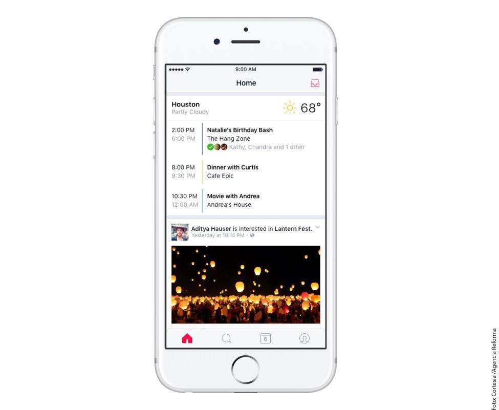 La aplicación mostrará a los usuarios los eventos en los que están interesados sus contactos, anuncios de acontecimientos de las páginas a las que ha dado 'Me gusta'./AGENCIA REFORMA