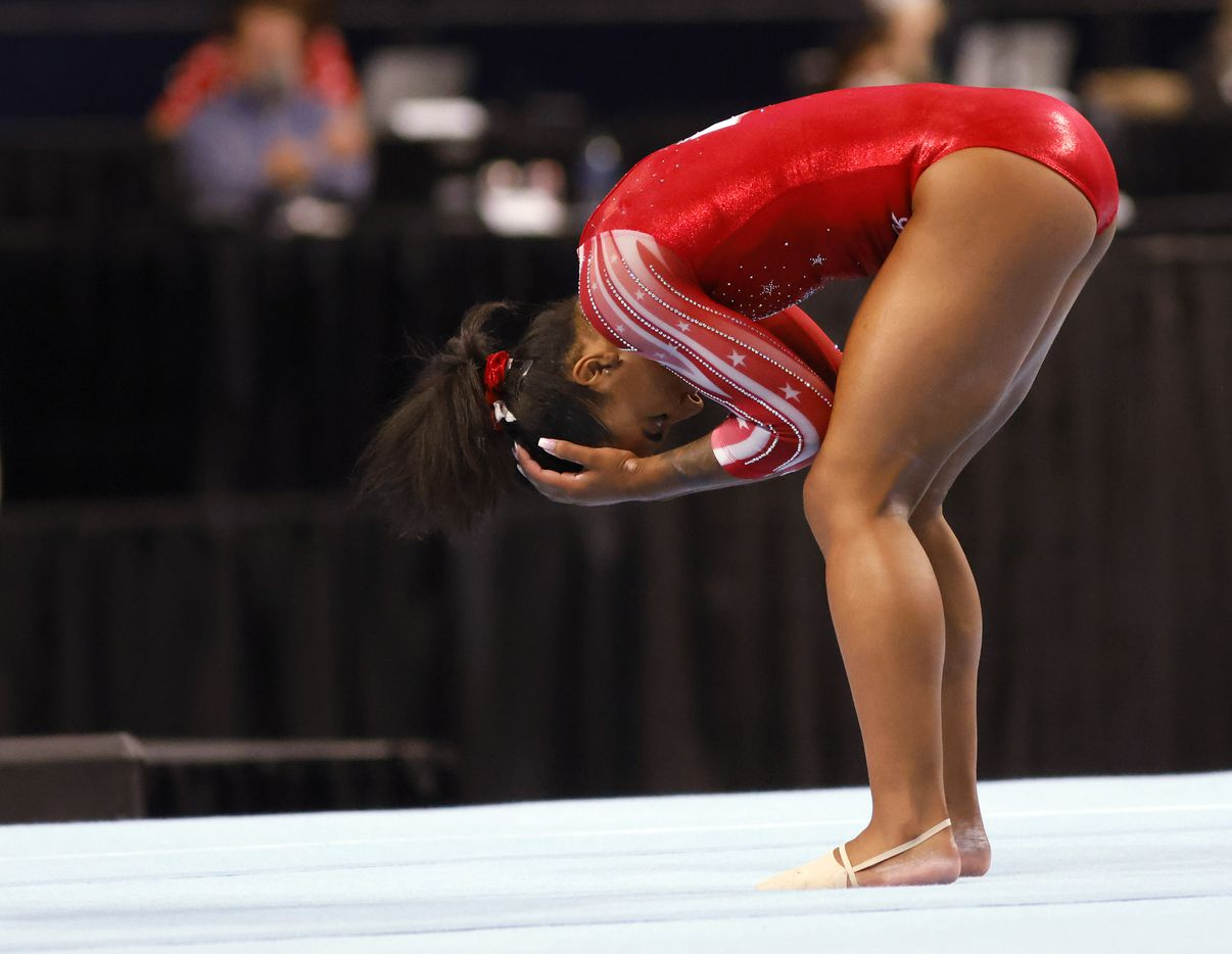 Jordan Chiles gets emotional after completing her floor routine during day 2 of the women's 2021 U.S. Olympic Trials at The Dome at America's Center on Saturday, June 27, 2021 in St Louis, Missouri.(Vernon Bryant/The Dallas Morning News)