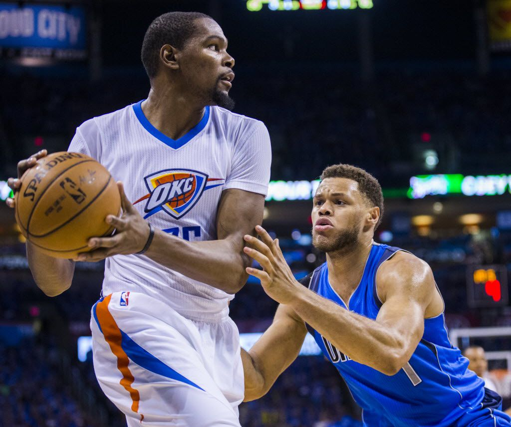 Dallas Mavericks guard Justin Anderson (1) guards Oklahoma City Thunder forward Kevin Durant (35) during the third quarter of game 5 of their series in the first round of NBA playoffs on Monday, April 25, 2016 at Chesapeake Energy Arena in Oklahoma City, Oklahoma.  (Ashley Landis/The Dallas Morning News)