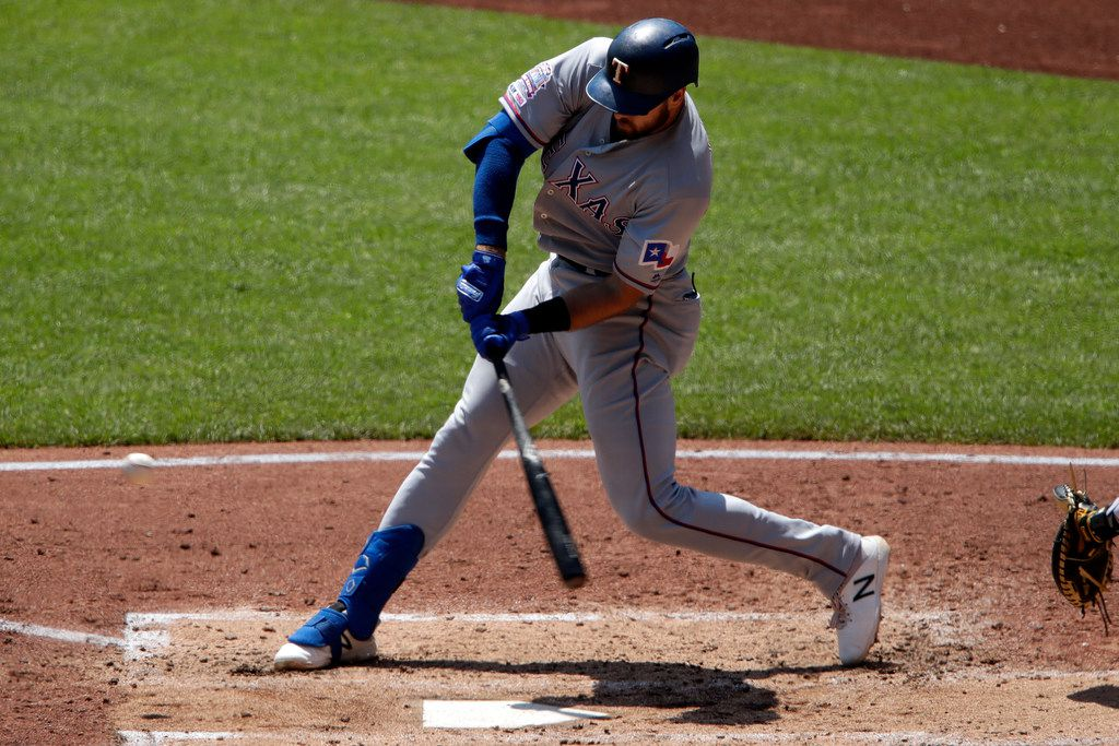 Texas Rangers' Joey Gallo hits a two-run home run off Pittsburgh Pirates starting pitcher Nick Kingham during the third inning of a baseball game in Pittsburgh, Wednesday, May 8, 2019. (AP Photo/Gene J. Puskar)