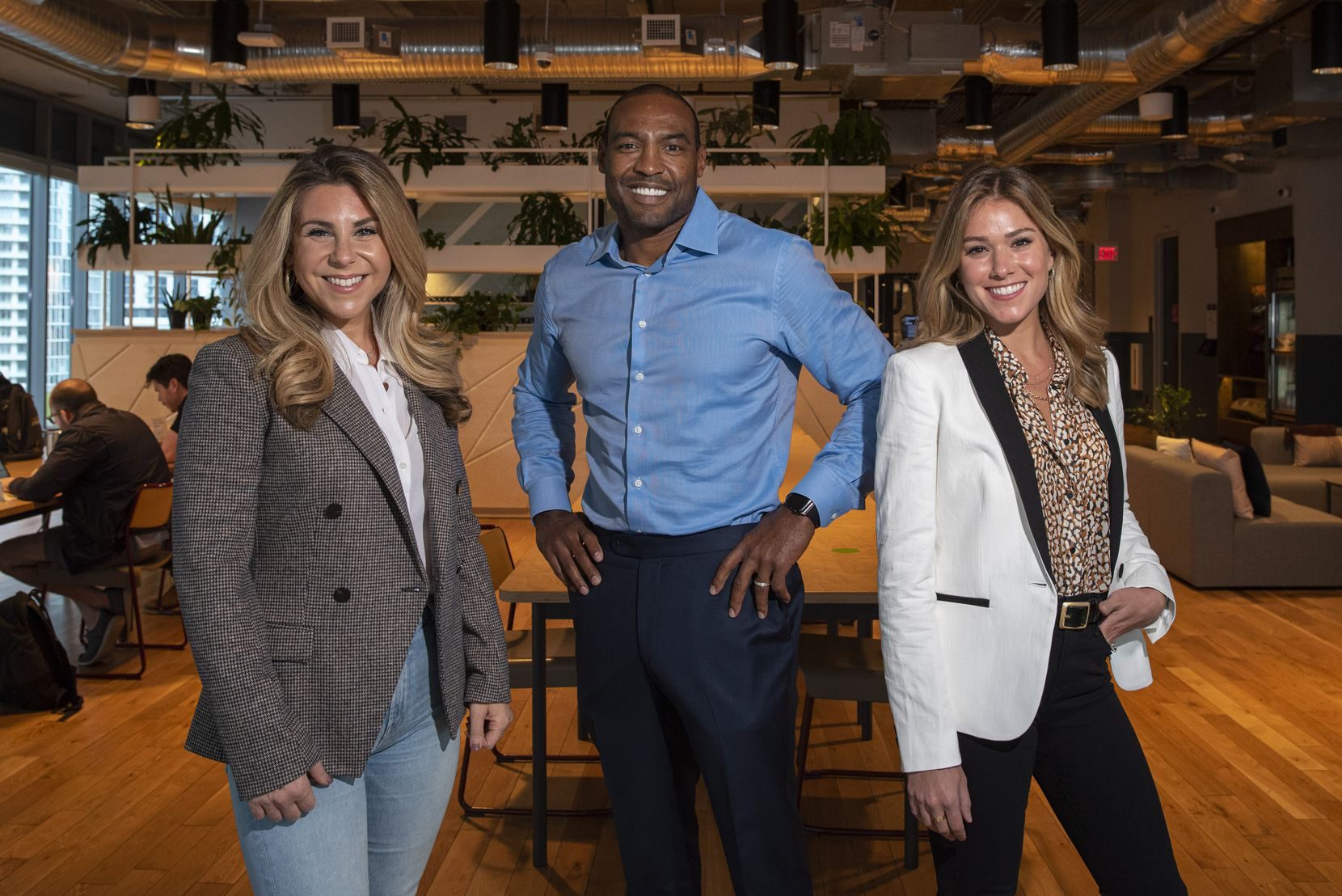 CounterFind founder and chairman Darren Woodson, center, with Rachel Aronson, left, vice president for business development, and Jamie Gerson, right, head of strategic partnerships, inside their virtual office space at WeWork in downtown Dallas.