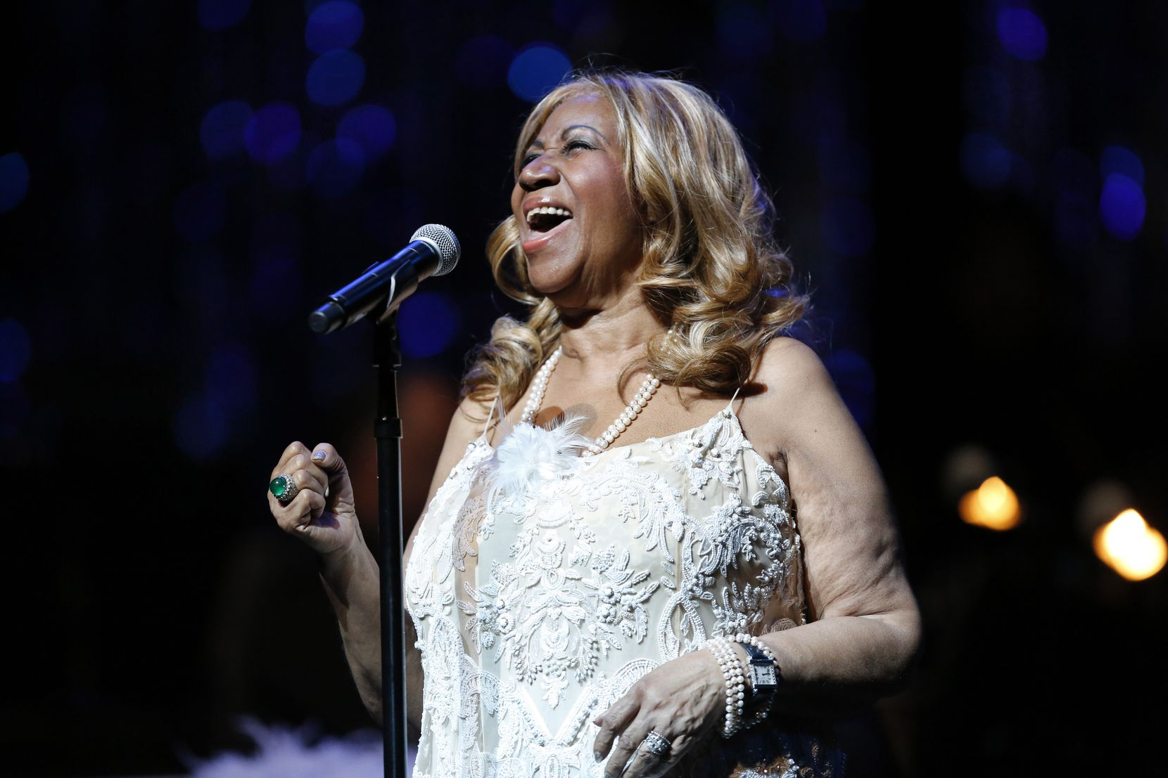 "The Queen of Soul, Aretha Franklin, performs ""Angel"" as she takes the stage at CitySquare's annual A Night to Remember! at the Winspear Opera House in Dallas, Saturday, September 6, 2014."
