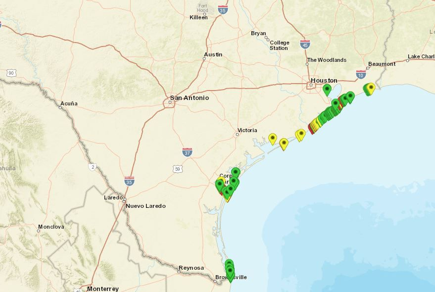 Green indicates low levels of fecal bacteria, while yellow means medium and red means high on a map provided by Texas Beach Watch.
