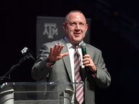 Buzz Williams, Texas A&M's new men's basketball coach, speaks Thursday, April 4, 2019, in College Station, Texas. Williams, who was born in and grew up in Texas, was introduced as the team's coach Thursday, returning to the school where he spent 2004-06 as an assistant coach and recruiting coordinator. (Laura McKenzie/College Station Eagle via AP)