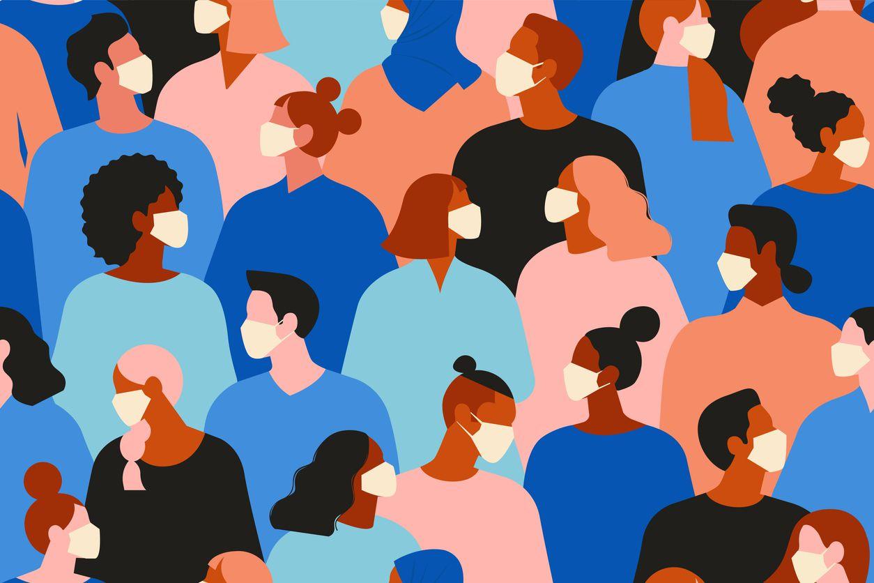 Ilustración de una congregación de personas portando cubrebocas.