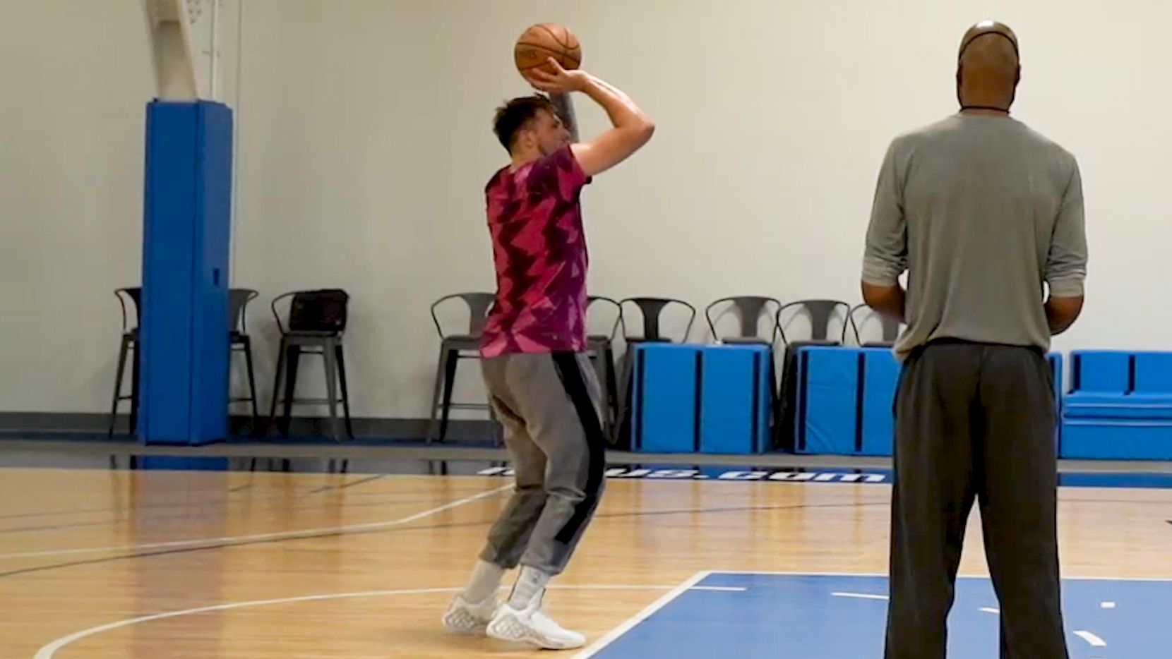 Dallas Mavericks guard Luka Doncic practices free throws from the first mandatory workout on July 1, 2020. Doncic and others played at the team's practice facility for the first time since the coronavirus pandemic started in Dallas.  (Photo courtesy Dallas Mavericks)