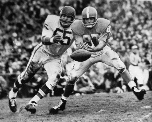 Dallas Texans linebacker E.J. Holub breaks up a pass during the 1962 AFL Championship in Houston. The Texans defeated the Oilers for the title.