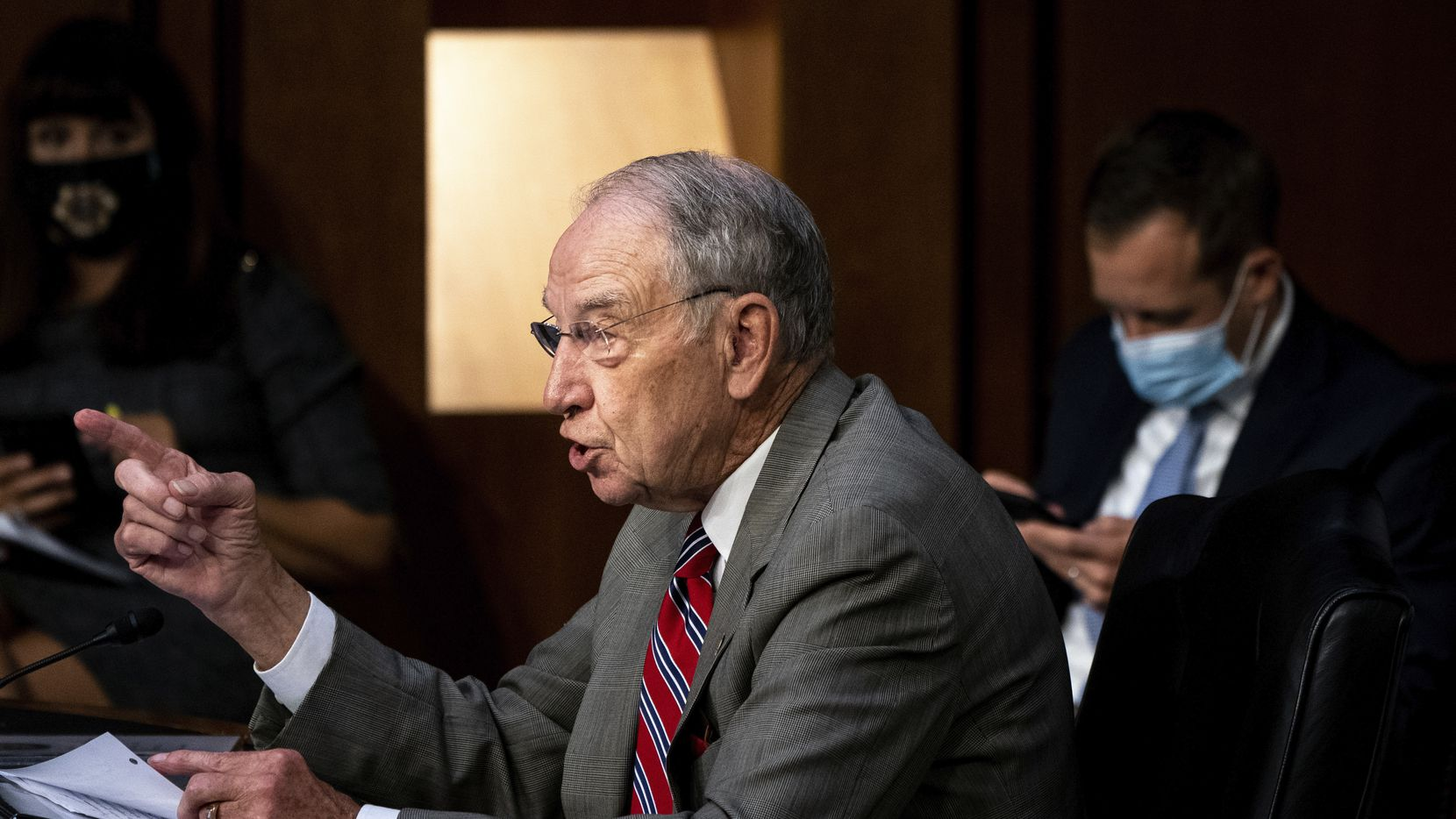 Sen. Charles Grassley, R-Iowa,, speaks during the confirmation hearing for Supreme Court nominee Amy Coney Barrett, before the Senate Judiciary Committee, Oct. 13, 2020, on Capitol Hill in Washington.