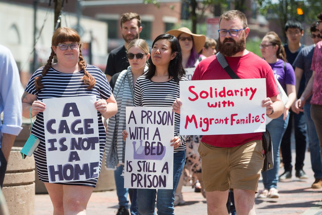 Wayfair Inc. employees participate in a walkout June 26 in Boston, Mass., after the company sold more than $200,000 in bedroom furniture to a Texas detention facility for migrant children.