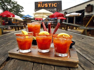 The Rustic on Howell St. in Dallas serves house-made Bloody Mary's made with house-pickled okra, Texas beef straws, and Peppadew peppers, Sunday, April 28, 2019. The drinks are part of the on the Jam 'N Toast brunch menu. (Tom Fox/The Dallas Morning News)