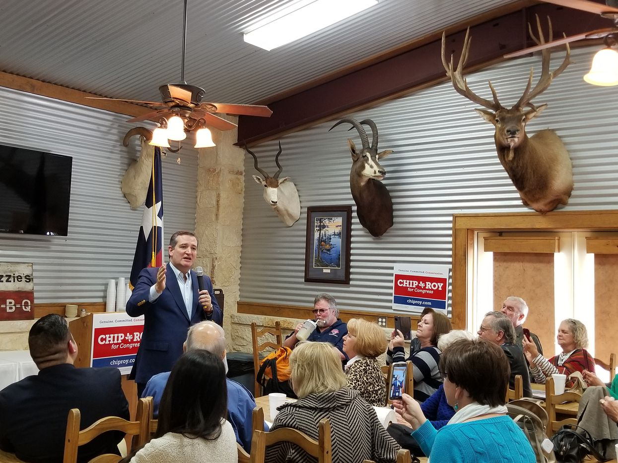 Sen. Ted Cruz stumps at Buzzie's BBQ in Kerrville on Feb. 10.