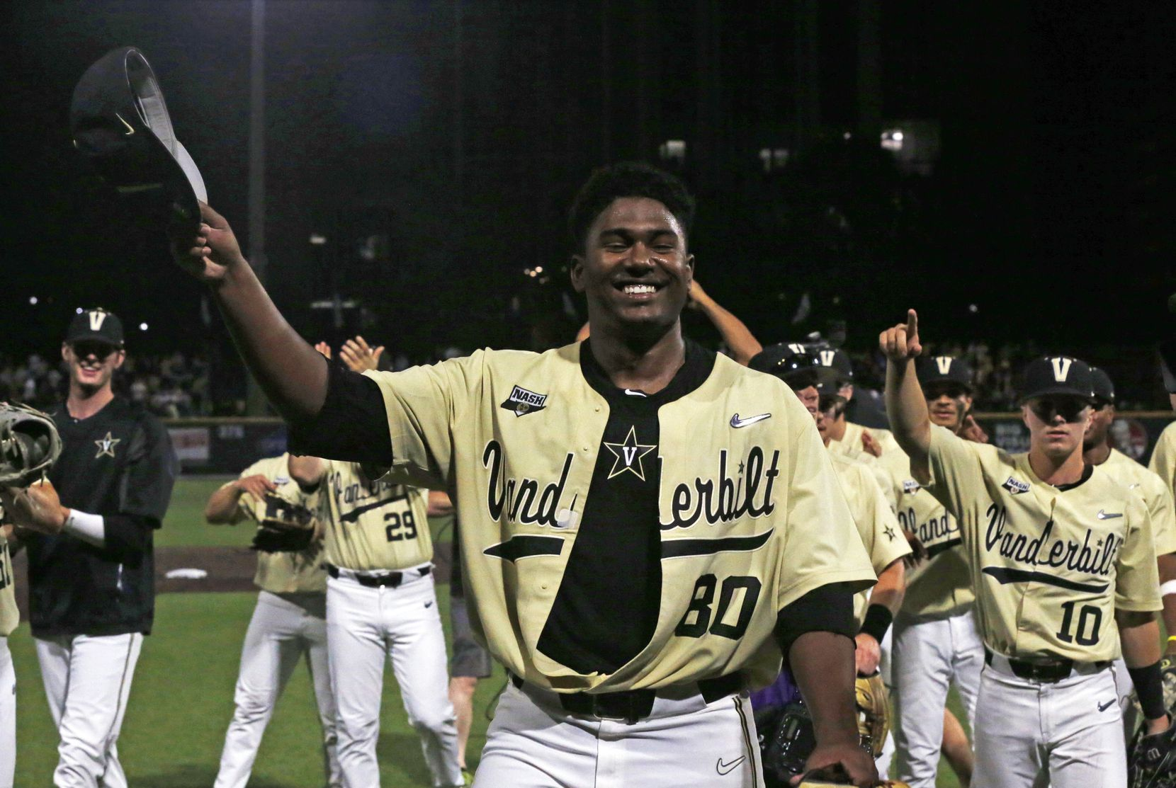 Vanderbilt's Kumar Rocker (80) tips his hat to fans after the team's NCAA college baseball tournament super regional game against Duke on Saturday, June 8, 2019, in Nashville, Tenn. Rocker threw a no-hitter in Vanderbilt's 3-0 victory. (AP Photo/Wade Payne)
