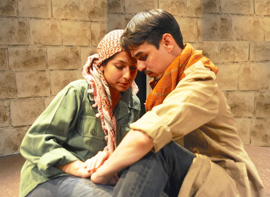 Sorany Gutierrez played Lira and Omar Padilla played Marandro in El Cerco de Numancia, adapted by Cora Cardona for Teatro Dallas in 2016.