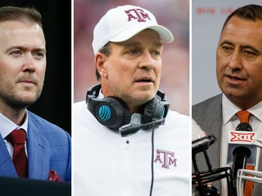 From L to R: Oklahoma coach Lincoln Riley, Texas A&M coach Jimbo Fisher and Texas coach Steve Sarkisian.(SportsDay Staff)
