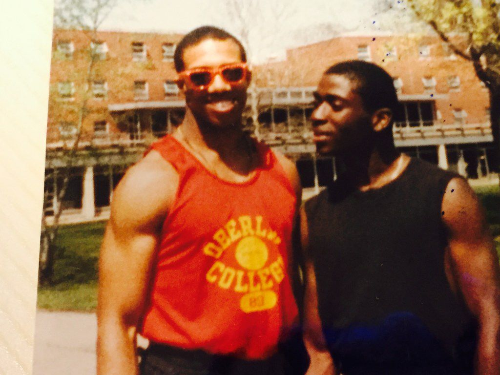 Michael Sorrell with his Kappa Alpha Psi fraternity brother Tony Charlton at Oberlin College in 1986.