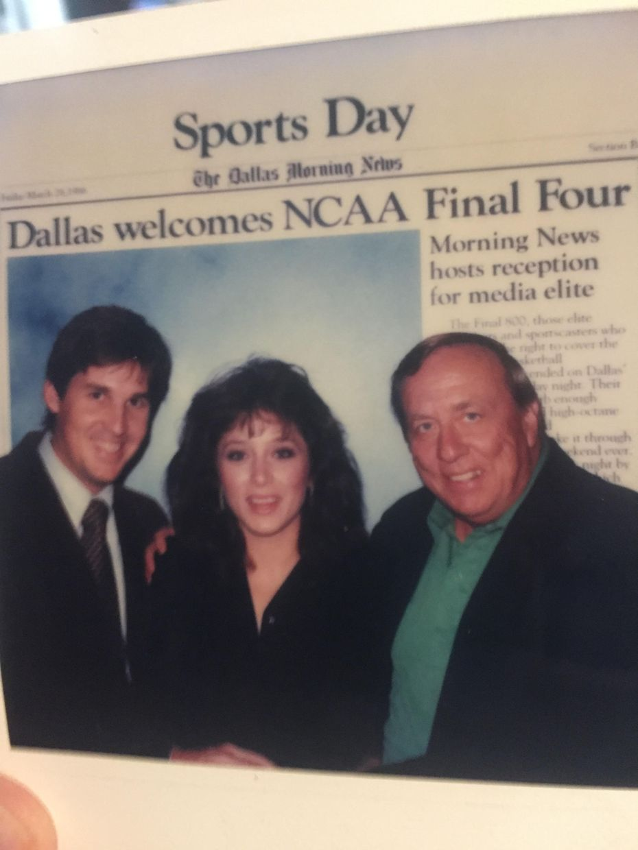Tim and Lori Cowlishaw (left) with DMN writer Harless Wade at the 1986 Final Four in Dallas.