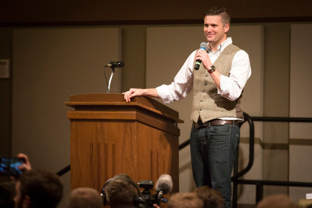 """Richard Spencer speaks at the Memorial Student Center at Texas A&M University on Tuesday, Dec. 6, 2016, in College Station, Texas. Spencer, a Dallas native and a self-professed founder of the """"alt right"""" movement, was blocked from speaking there again in 2017 because of security concerns."""