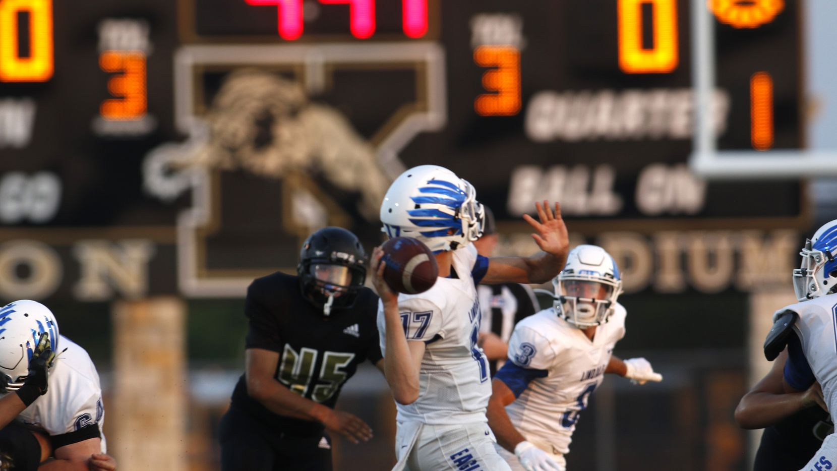 Lindale quarterback Sam Peterson (17) prepares to launch a long pass downfield during the 1st quarter of their season opener against Kaufman.The game was played at Lions Stadium on the campus of Kaufman High School in Kaufman on August 28, 2020.