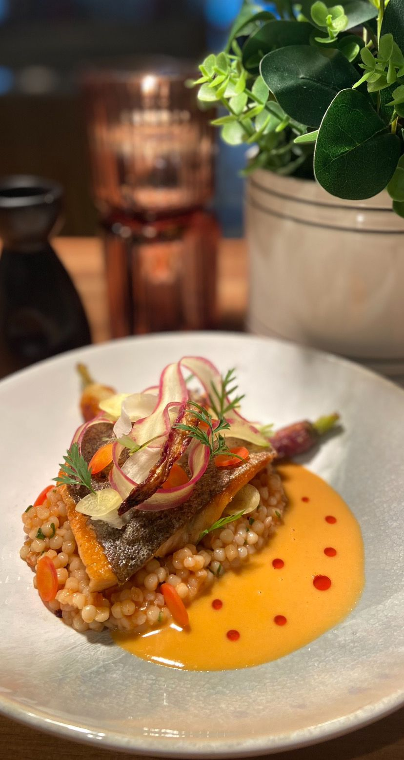 Chef Preston Paine created a new dish for Oak in Dallas: ocean trout with Israeli couscous and variations of carrot. Paine is the director of culinary for a fleet of restaurants owned by ARG Concepts.