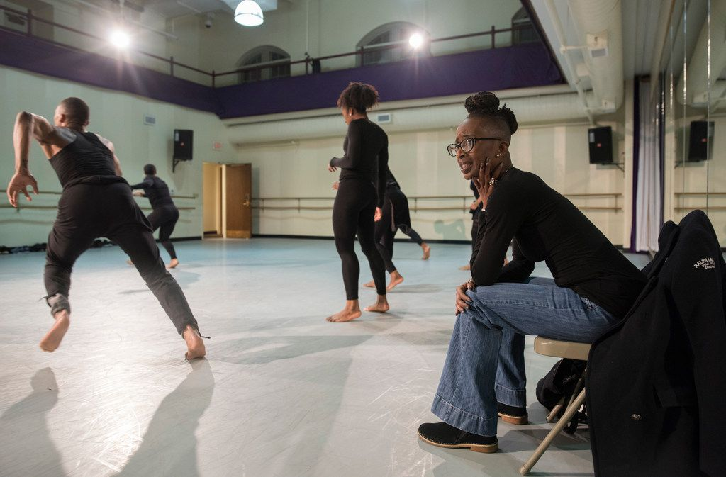 Choreographer Michelle N. Gibson watches as Dallas Black Dance Theatre rehearses her Displaced, Yet Rebirthed.