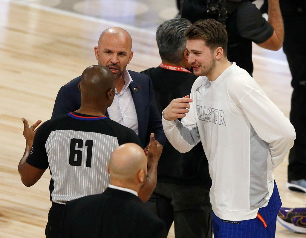 Team LeBron's assistant coach Jason Kidd and Luka Doncic talk with an official during a break in play in a game against Team Giannis in the NBA All-Star 2020 game at United Center in Chicago on Sunday, February 16, 2020. Team LeBron defeated Team Giannis 157-155. (Vernon Bryant/The Dallas Morning News)