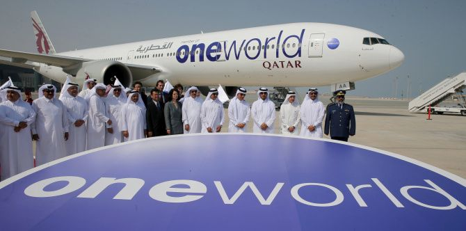 A ceremony Oct. 29 at Hamad International Airport in Doha marked the alliance of Qatar Airways and Oneworld.