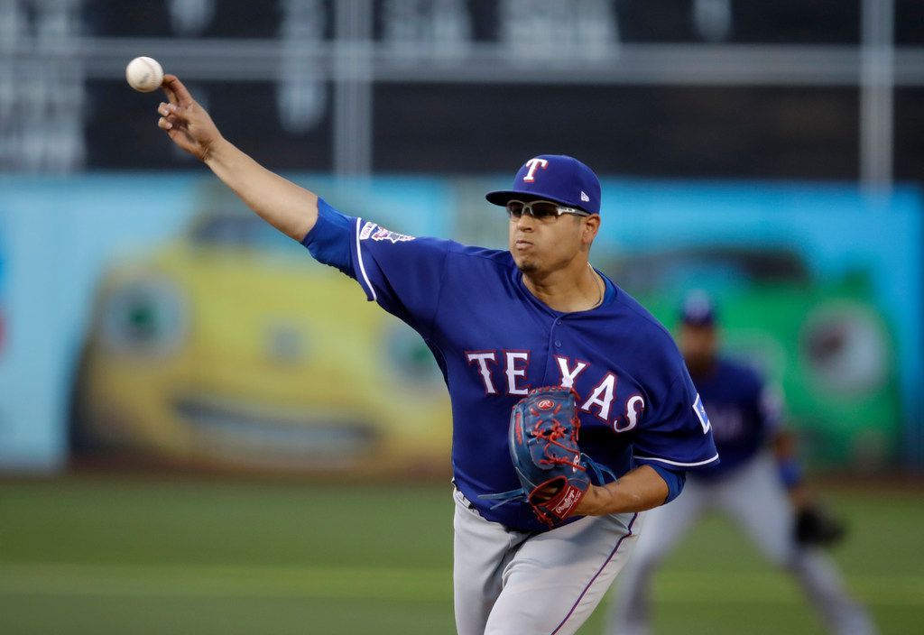 Texas Rangers pitcher Ariel Jurado works against the Oakland Athletics in the first inning of a baseball game Thursday, July 25, 2019, in Oakland, Calif. (AP Photo/Ben Margot)
