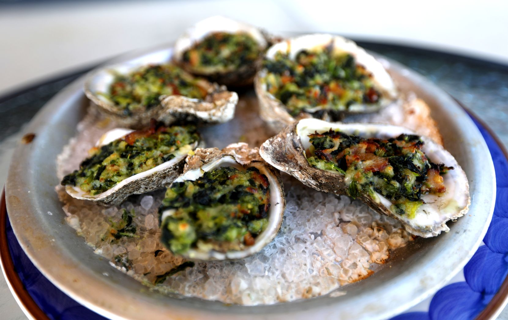 Of course, Bongo Beaux's has seafood on its menu. Here's the Gulf Oysters baked with spinach, bacon, herbs and parmesan.