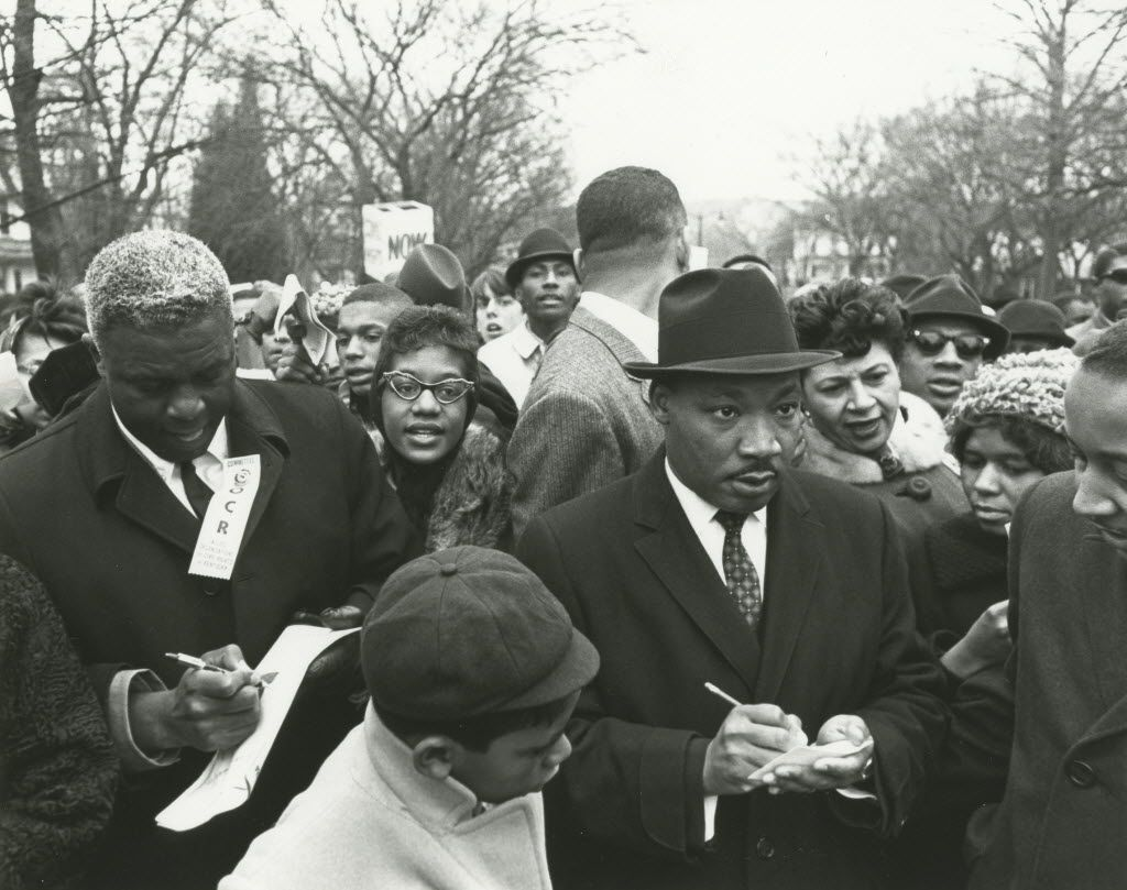 Jackie Robinson (left) joined the Rev. Martin Luther King Jr. and other civil rights leaders during the 1964 March on Frankfort. About 10,000 people turned out for the march in the Kentucky capital.