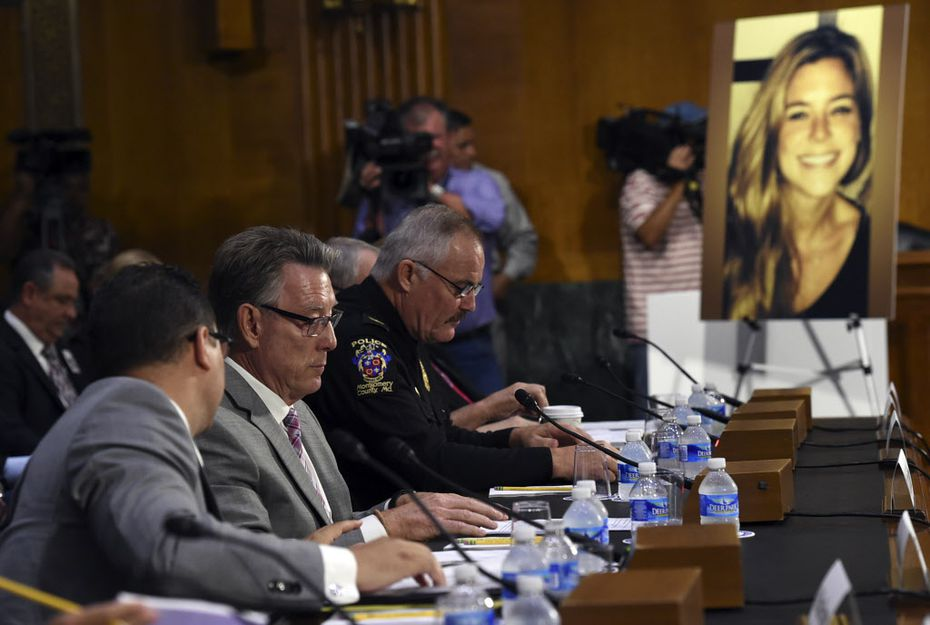 Jim Steinle, second from left, testifies next to Montgomery County (Md.) Police Chief J. Thomas Manger before a Senate Judiciary hearing. Steinle's daughter, Kate (pictured at right), was killed by a man previously deported five times.