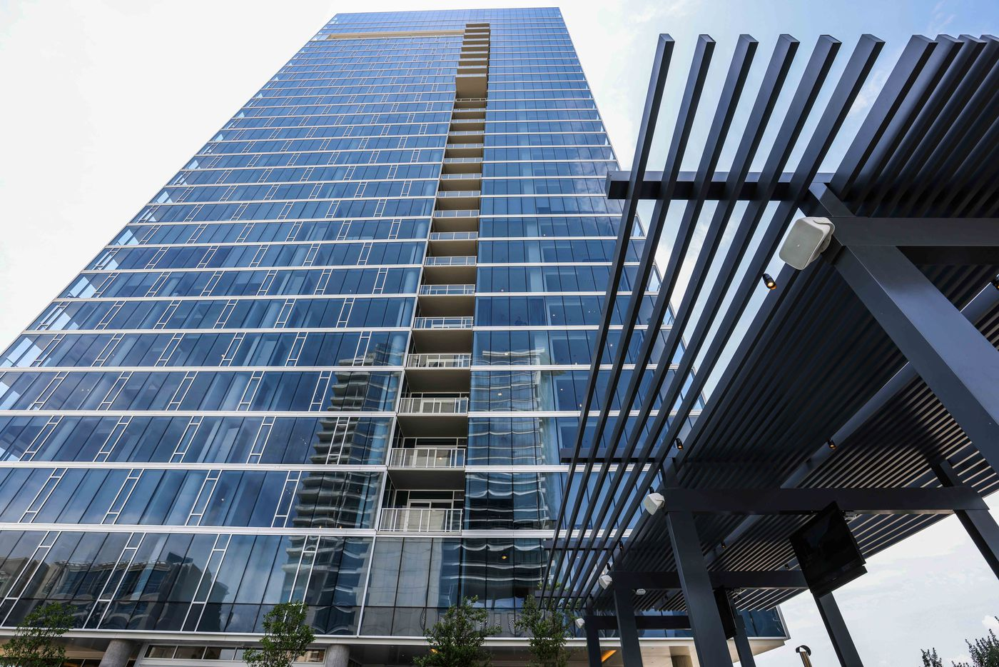 The Victor is Victory Park's tallest high-rise. (Lola Gomez/The Dallas Morning News)