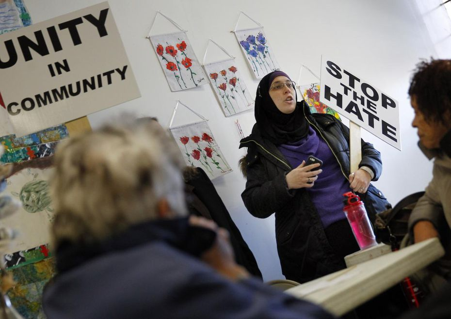 Alia Salem, a local activist and non-profit executive, speaks to a group during the Facing Race conference in Dallas in November 2014.