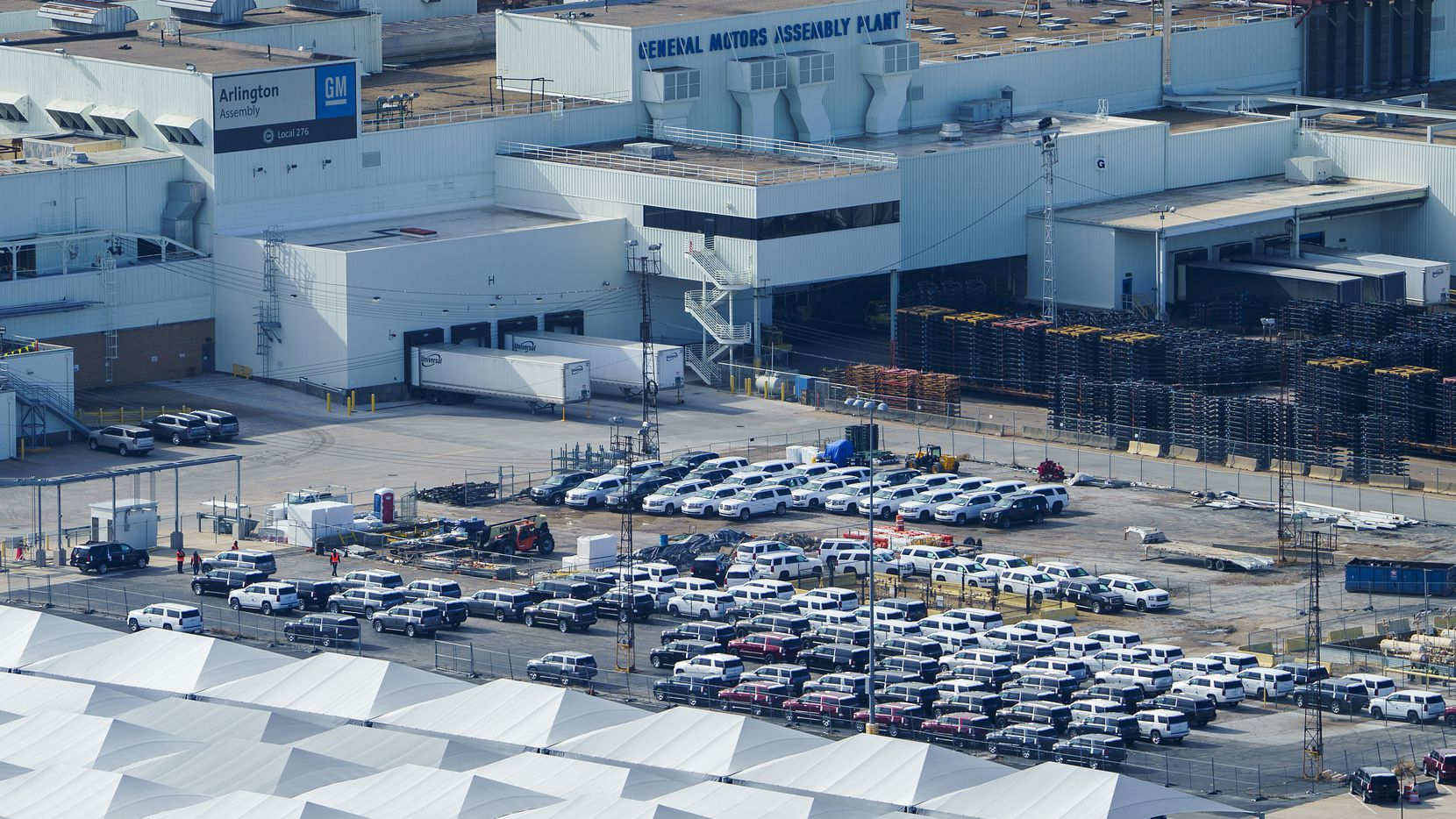 Aerial view of the General Motors Assembly Plant in Arlington.