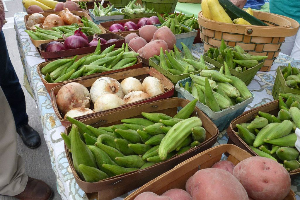 Whitsell Farms in Princeton had onions, zucchini and okra one Saturday at the McKinney Farmers Market in 2018.