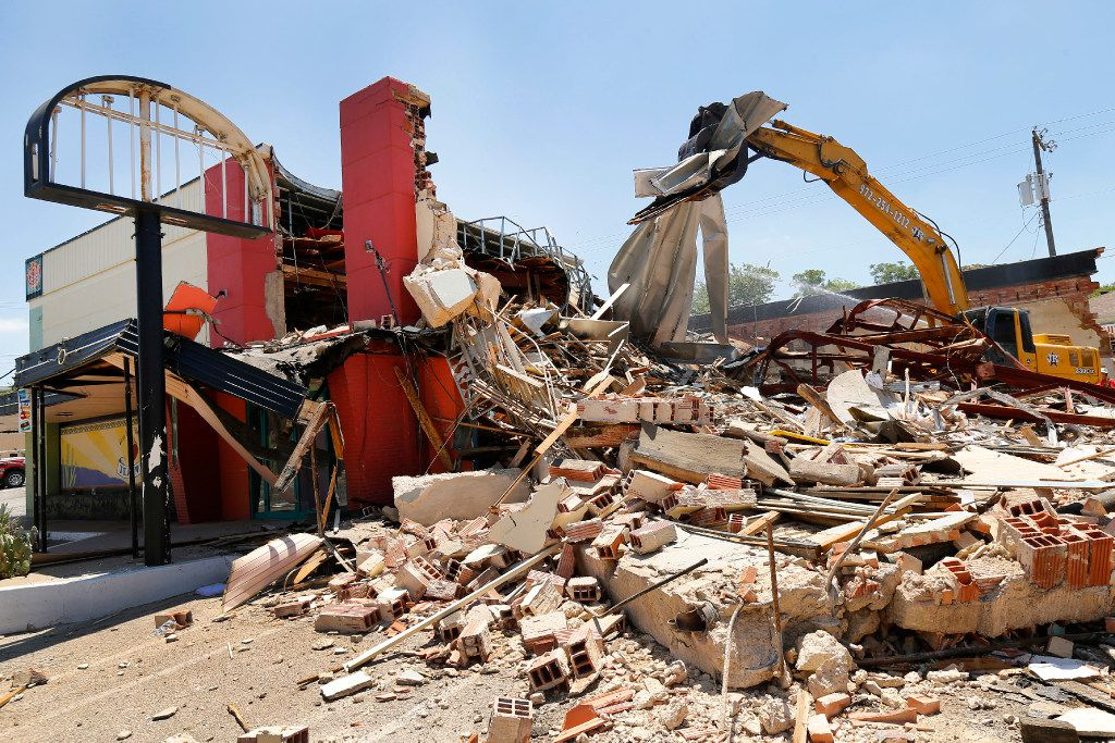 On Monday, the old El Chico in Oak Cliff, at Zang and Davis, was demolished.