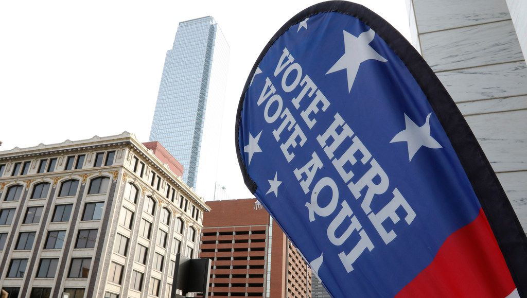 A sign marks an early-voting location at the George L. Allen Sr. Courts Building in Dallas.