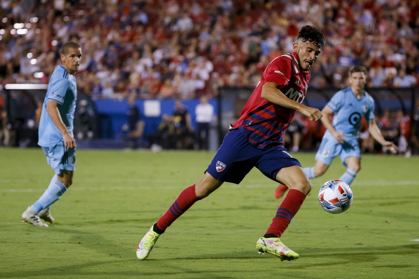 FC Dallas forward Ricardo Pepi (16) goes for a kick during the second half of a FC Dallas against Minnesota United game on Saturday, Oct. 2, 2021, at Toyota Stadium in Frisco. (Juan Figueroa/The Dallas Morning News)