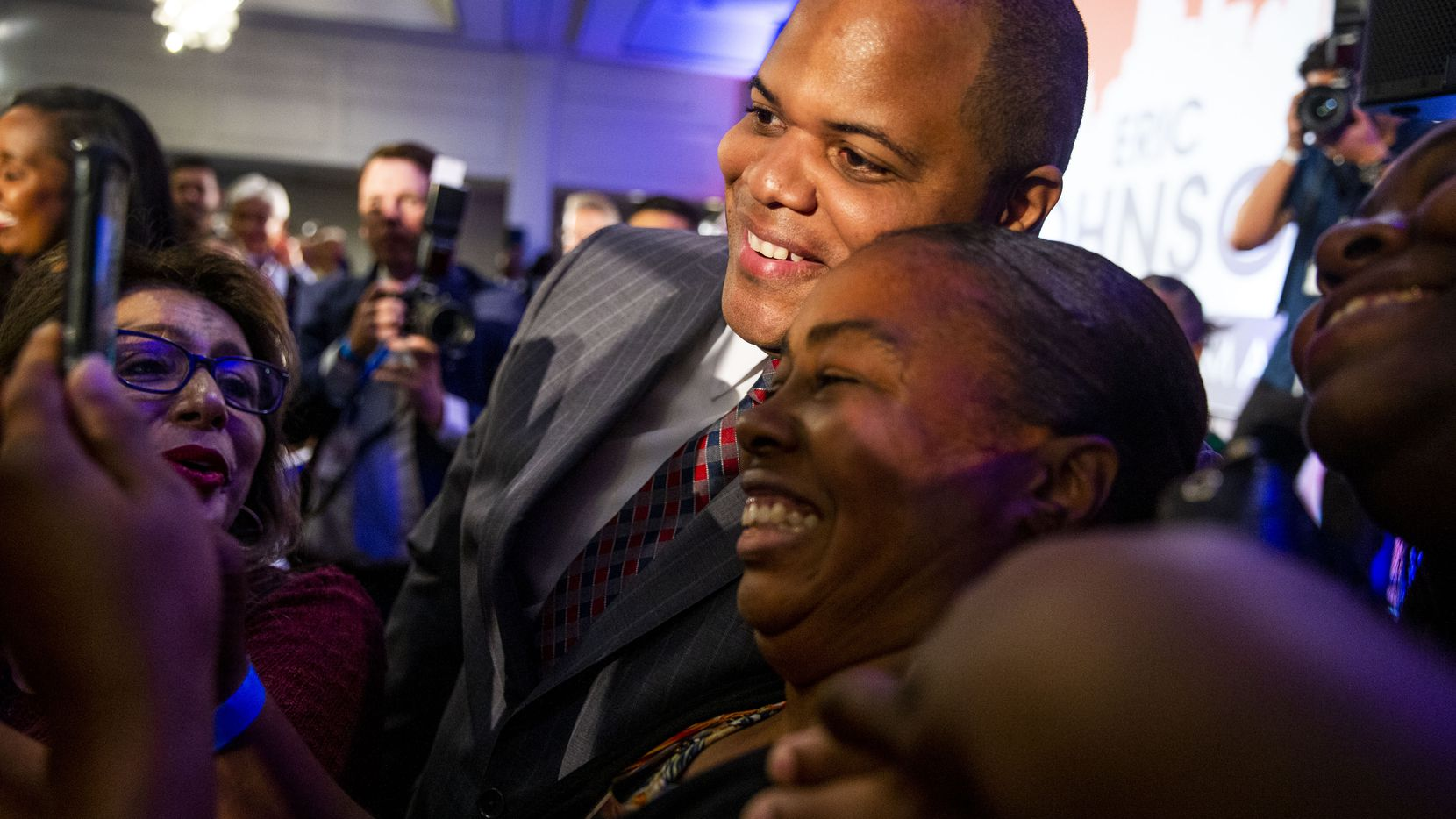 Mayor-Elect Eric Johnson takes picture with supporters after giving remarks during his victory party at Fairmont Dallas on Saturday, June 8, 2019.