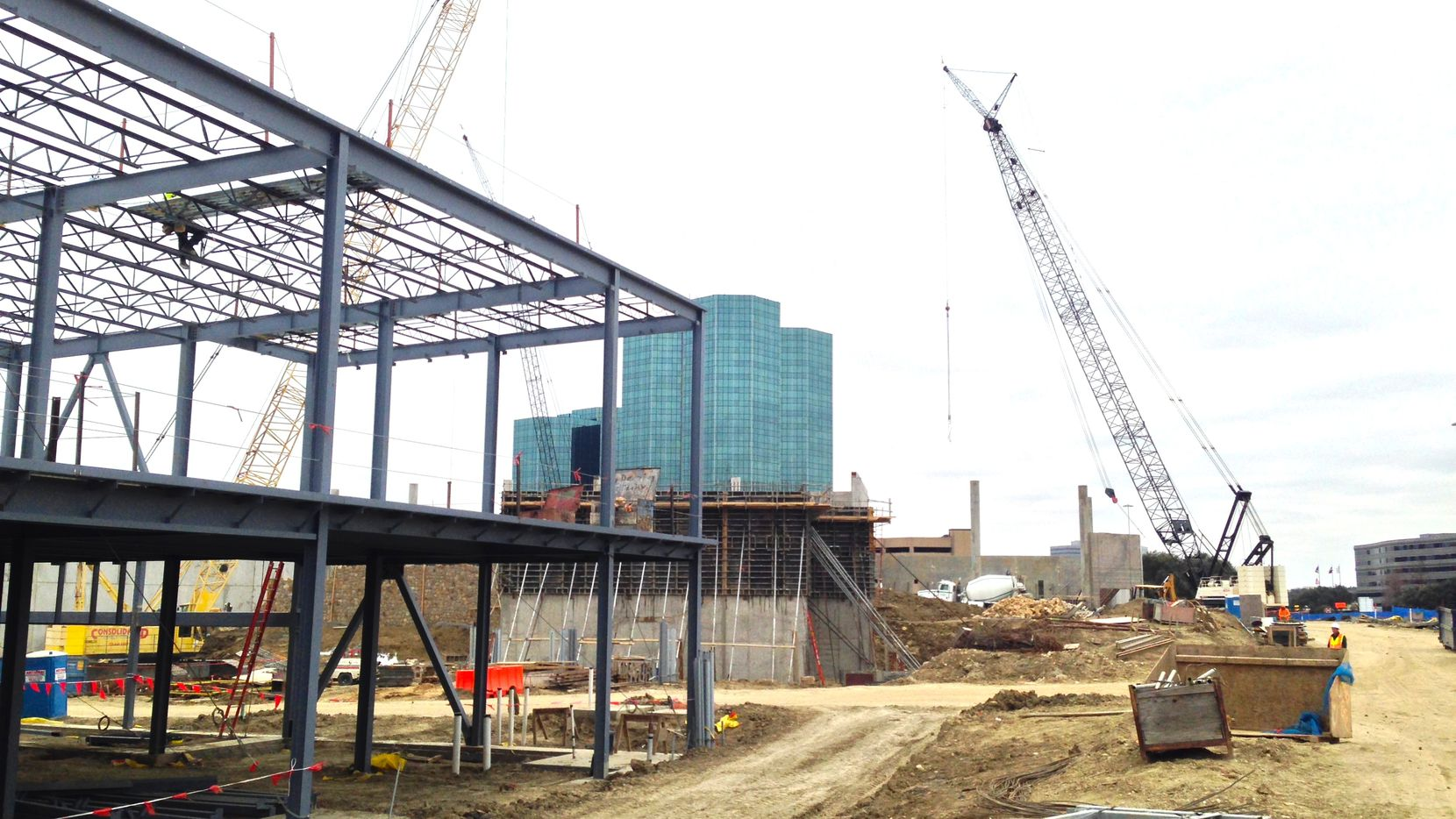 The Music Factory is being built on the north side of State Highway 114. (Steve Brown/Staff)