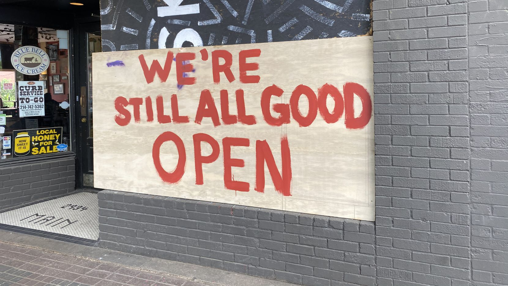 AllGood Cafe in Deep Ellum sustained damage Saturday night, but on Sunday, the restaurant projected positivity and carried on with business.