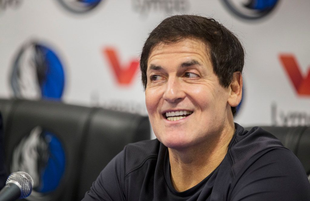 Mark Cuban, owner of the Dallas Mavericks, speaks during a media conference at the Mavericks Training Center in Dallas on Nov. 16, 2018. The Mavericks partnered with Lympo, a fitness application that rewards its users for living a healthy lifestyle. (Carly Geraci/The Dallas Morning News)