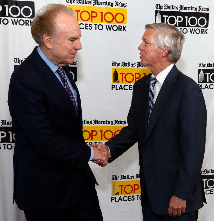 Former Dallas Cowboys quarterback Roger Staubach, left, with Jim Moroney, Publisher and CEO of the Dallas Morning News at the Top 100 Place to Work luncheon at the Dallas Omni Hotel on Friday, November 17, 2016 in Dallas, Texas. Staubach was the guest speaker for the event. (David Woo/The Dallas Morning News)