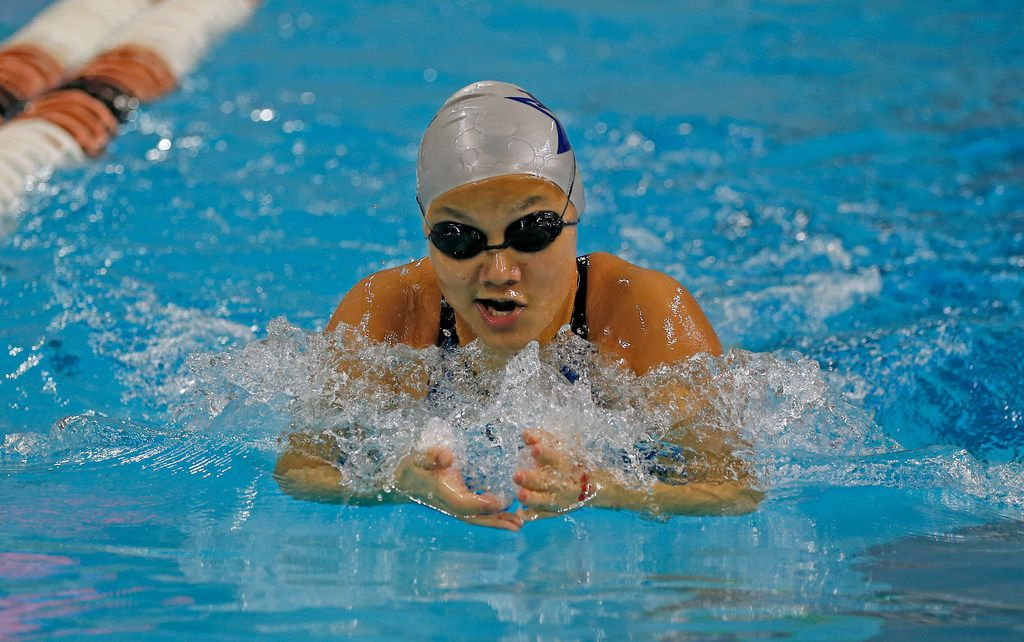 Joelle Reddin from Frisco Lone Star competes in 200 yard individual Medley at University of Texas on Friday, February 14, 2020.