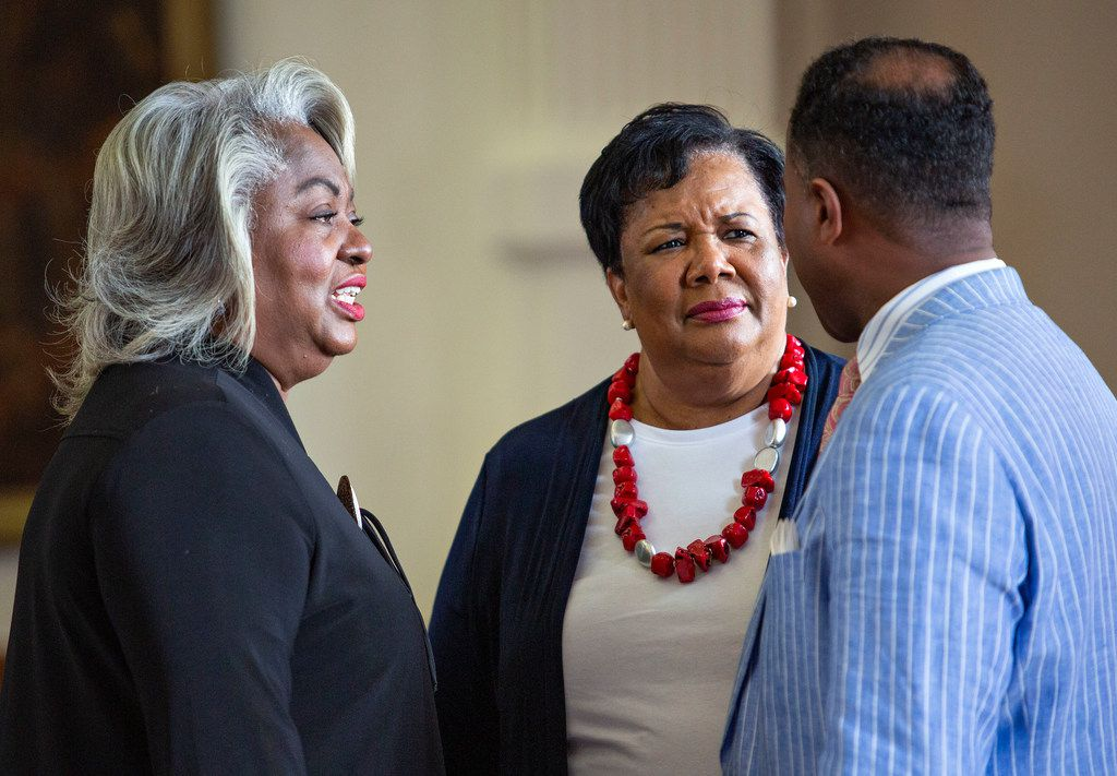 State Rep. Barbara Gervin-Hawkins, left, chats with State Rep. Yvonne Davis and State Rep. Ron Reynolds, of Missouri City, on the House floor just before Sine Die at the State Capitol of Texas on May 27, 2019 in Austin, Texas.